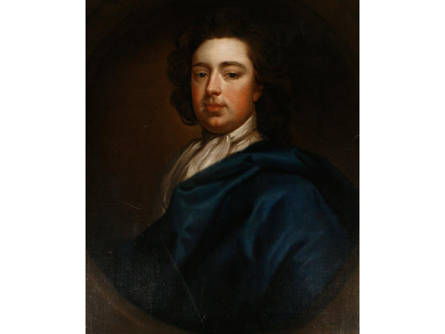 Follower of Sir Godfrey Kneller (Lübeck 1646-1723 London) Portrait of a gentleman, half-length, in a blue mantle and a white jabot, within a painted oval