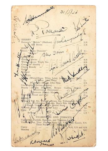 1946/47 M.C.C. hand signed wine list