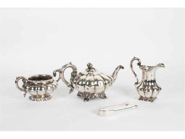 A matched three piece silver teaset Teapot by Joseph & Albert Savory, London, 1836,