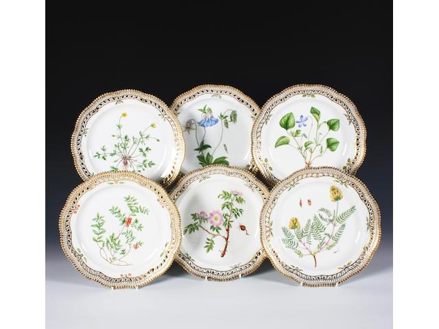 A set of six Royal Copenhagen 'Flora Danica' plates Dated 1963 and 1964.