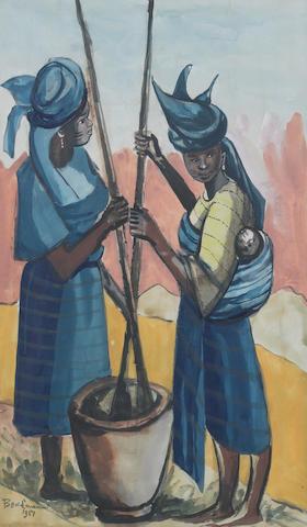 Ben (Benedict Chukwukadibia) Enwonwu, M.B.E (Nigerian, 1917-1994) Yoruba women pounding cassava 50 x 30cm (19 11/16 x 11 13/16in) (image size)