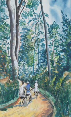 Ben (Benedict Chukwukadibia) Enwonwu, M.B.E (Nigerian, 1917-1994) Path through the forest 50 x 30cm (19 11/16 x 11 13/16in) (image size).