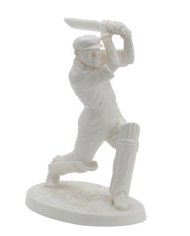 An uncoloured Coalport figurine of Don Bradman