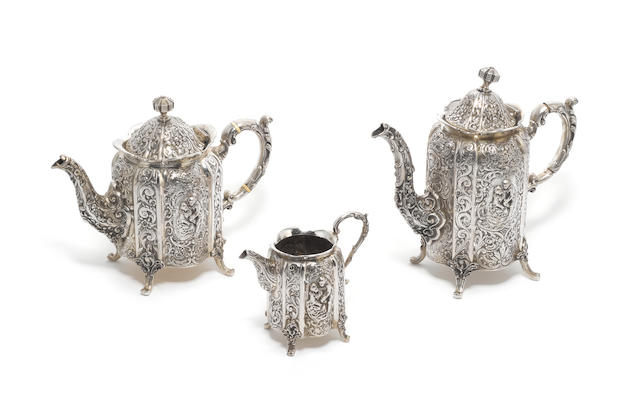 A late 19th century German  silver three-piece tea and coffee service, no maker's mark,  (3)