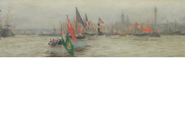 William Lionel Wyllie (British, 1851-1931) The River Pageant - the peace celebration, 1920