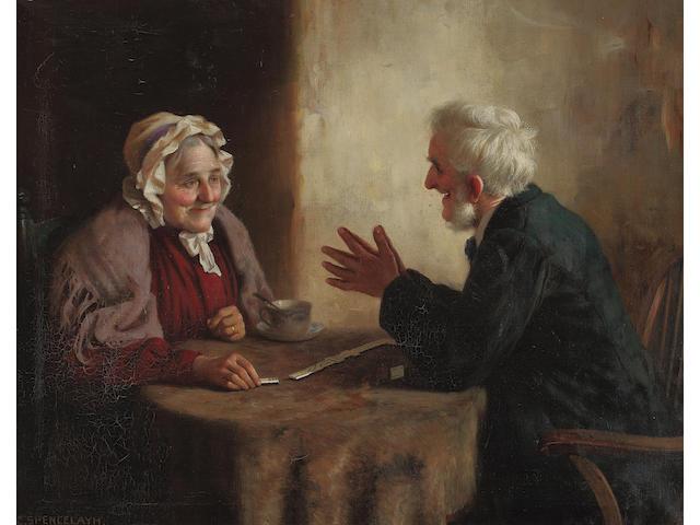 Charles Spencelayh, RMS, HRBSA (British, 1865-1958) Playing dominoes