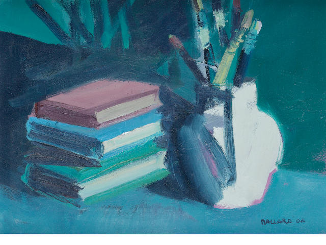 Brian Ballard (Irish, born 1943) Books and Brushes 30.5 x 40.5 cm. (12 x 16 in.)