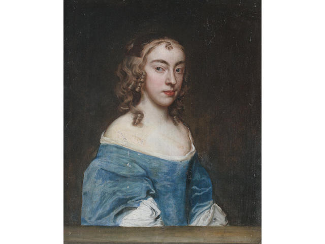 Circle of John Hayls (active England, circa 1600-1679) Portrait of a lady, half-length, in a blue dress and a white chemise,