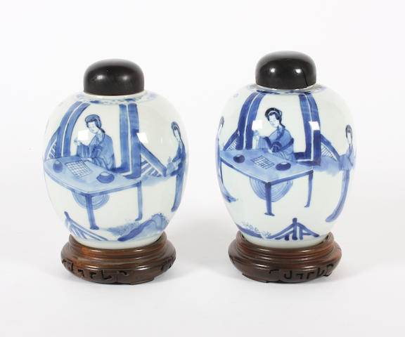 A pair of Chinese blue and white ginger jars Kangxi period.