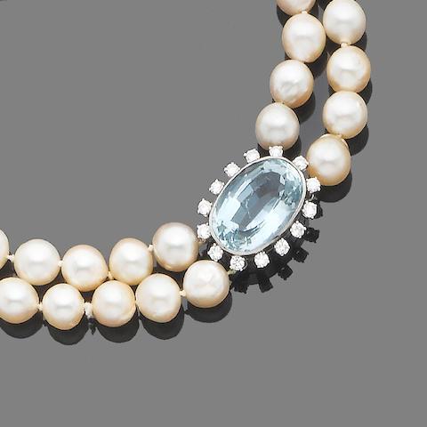 A two-strand cultured pearl, aquamarine and diamond choker