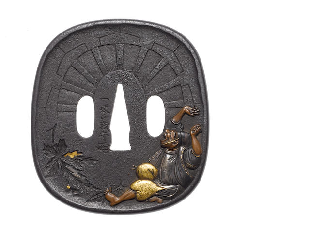 A large iron tsuba After Funada Ikkin, late 19th century