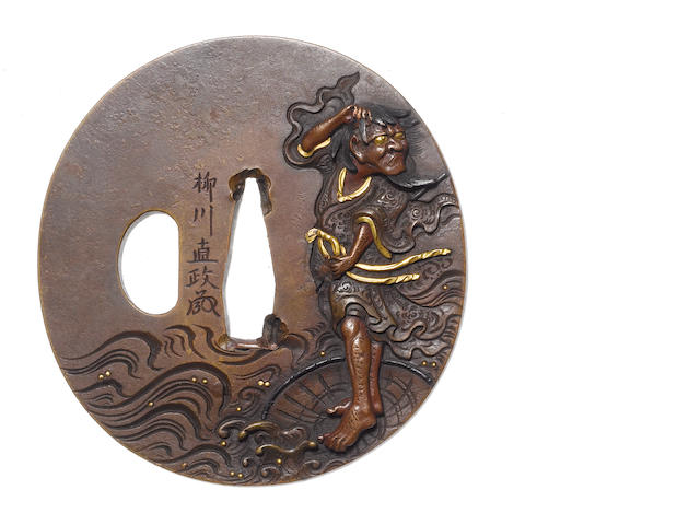 A brass tsuba Yanagawa School, 19th century