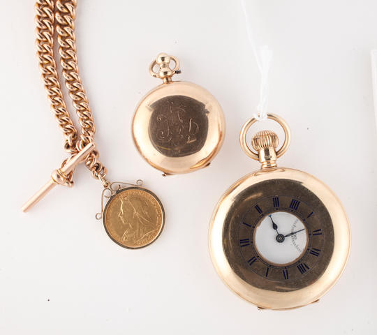 J W Benson: A 9ct gold half hunter keyless wind pocket watch