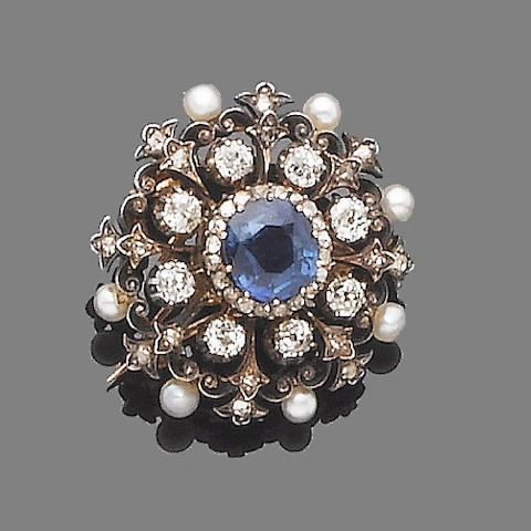 A sapphire, diamond and pearl brooch/pendant,
