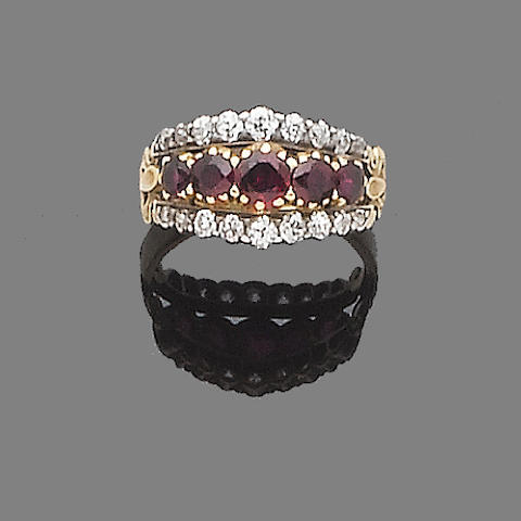 A ruby and diamond half-hoop ring