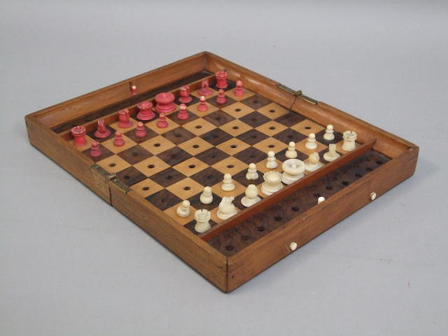 "An ""In Statu Quo"" travelling chess set Jaques & Son, 1880's"