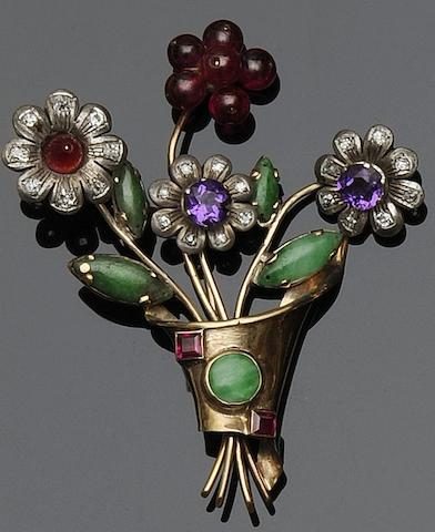 A floral spray brooch,