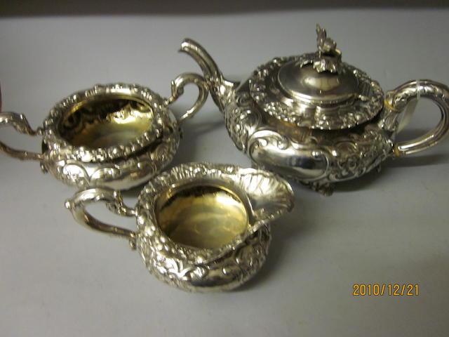 A Georgian three-piece matching tea service, different makers, Edinburgh 1803/1804  (3)