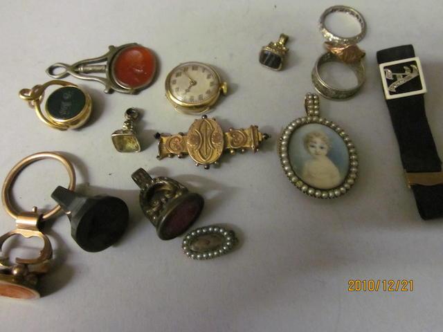 An oval miniature pendant, (Qty)
