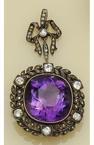 An Edwardian amethyst and diamond pendant