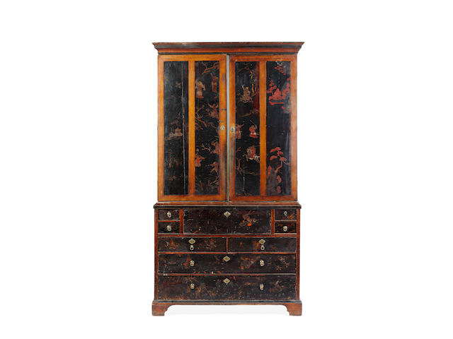 An early 18th century lacquer cabinet-on-chest