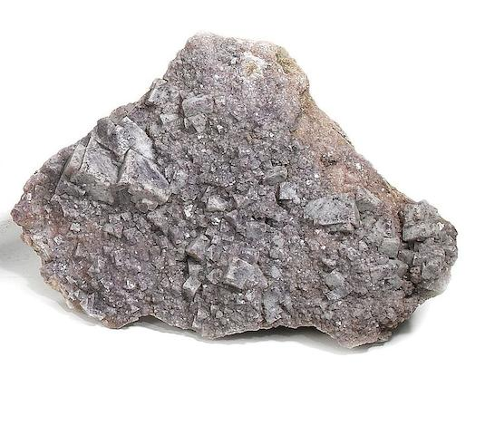 A purple fluorite mineral specimen,