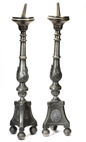 A pair of 19th Century pricket candlesticks