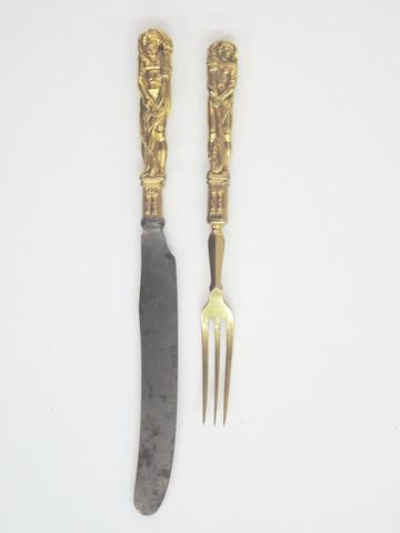 A 17th Century German cast bronze figural knife and fork