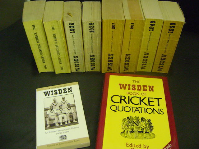 1936 onwards Wisdens cricket almanacks