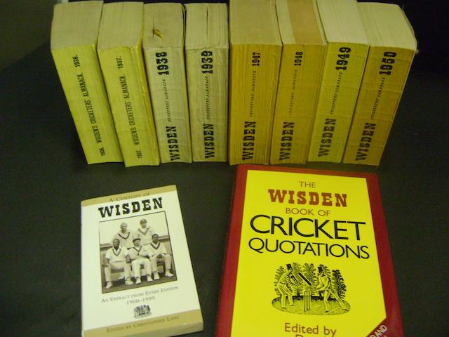 1936 onwards Wisdens cricket almanacks