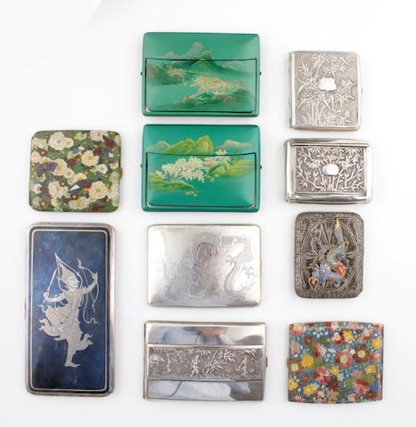 A collection of ten Oriental cigarette cases