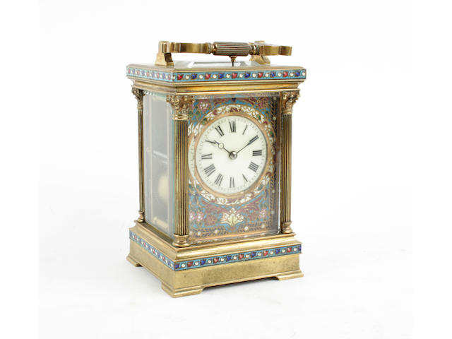 A French early 20th century champleve enamel repeating carriage clock