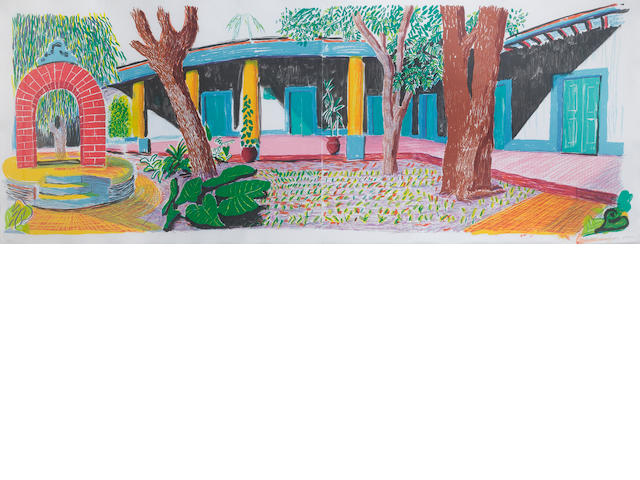 David Hockney R.A. (British, born 1937) Hotel Acatlan; Second Day Lithograph in colours, 1984-85, from the 'Moving Focus' series, printed in colours on two sheets of white TGL hand-made paper, signed, dated and numbered 53/98 in pencil, published by Tyler Graphics Ltd, New York, with their blindstamp, 730 x 1910mm (28 3/4 x 75 1/4)(full sheet)