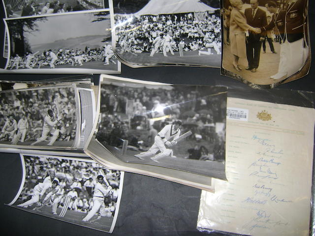 A complete set of Australian 1956 tour autographs, cricket press photographs