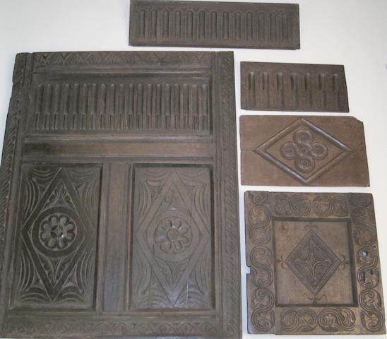 Five 17th Century pieces of oak panelling