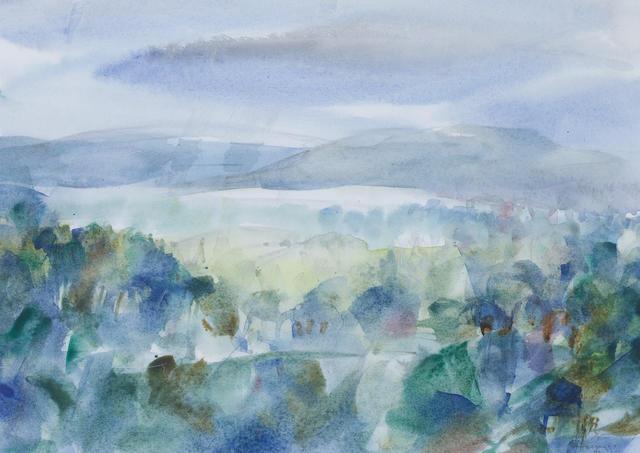 Louis Le Brocquy H.R.H.A. (Irish, born 1916) Wicklow Landscape I 24 x 34.3 cm. (9 1/2 x 13 1/2 in.)