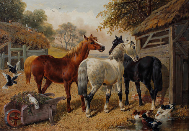 Circle of John Frederick Herring, Jnr. (British, 1815-1907) Horses, ducks and birds by a barn