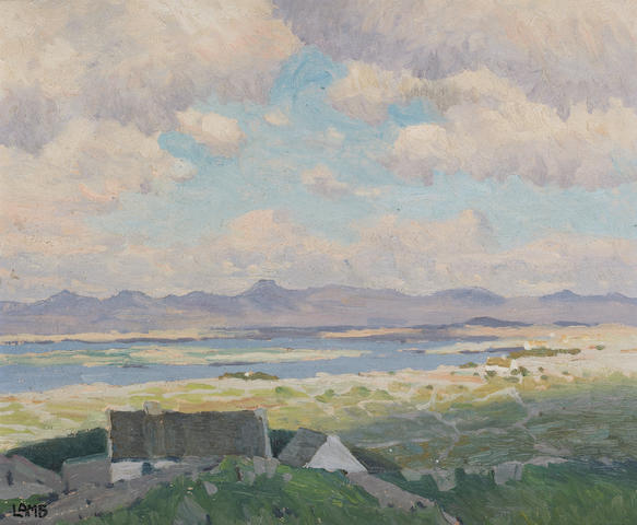 Charles Vincent Lamb R.H.A., R.U.A. (Irish, 1893-1964) Landscape with cottages and clouds 33 x 40.5 cm. (13 x 16 in.)