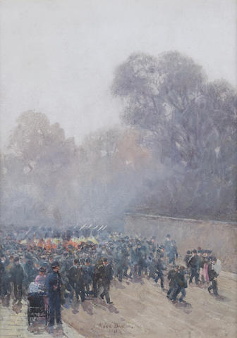 Rose Maynard Barton, R.W.S. (Irish, 1865-1929) Marching band and crowd 25 x 18 cm. (9 3/4 x 7 in.)