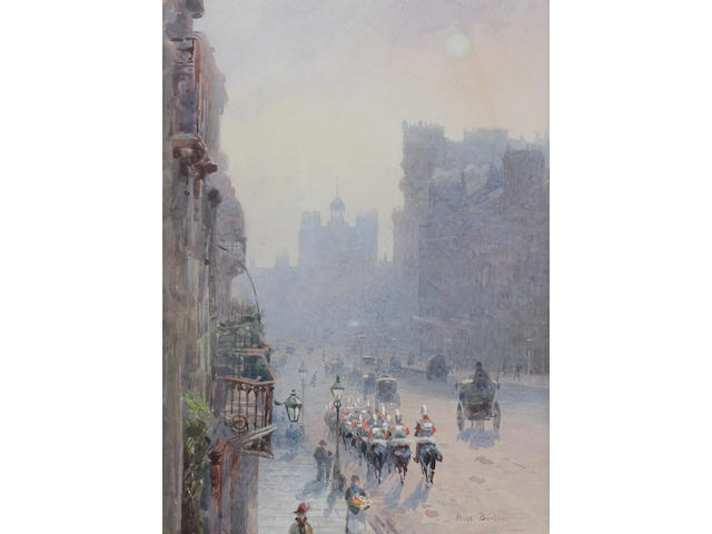 Rose Maynard Barton (Irish, 1865-1929) St. James's Street looking towards St. James's Palace 24.7 x 18 cm. (9 3/4 x 7 1/4 in.)