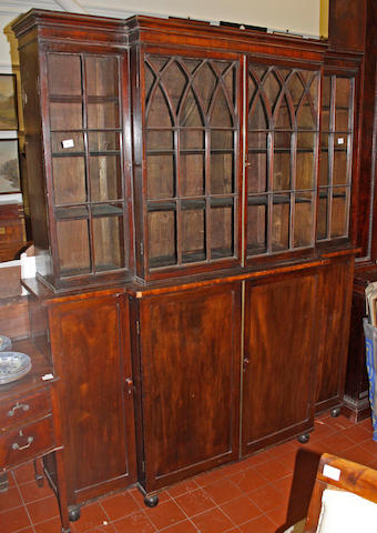 A small Regency and later mahogany library bookcase,