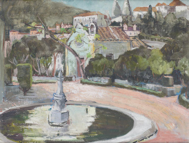 Freida Lock (South African, 1902-1962) The Fountain at Cascais, Portugal