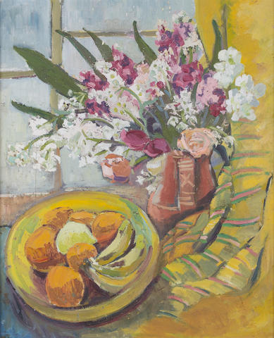Freida Lock (South African, 1902-1962) Still life of fruit and flowers with striped throw