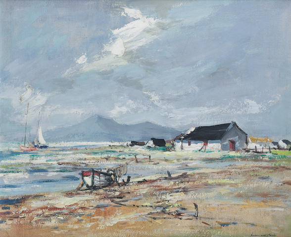Kenneth Webb (Irish, born 1927) The Mournes from Tyrella 58.5 x 48 cm. (23 x 19 in.)