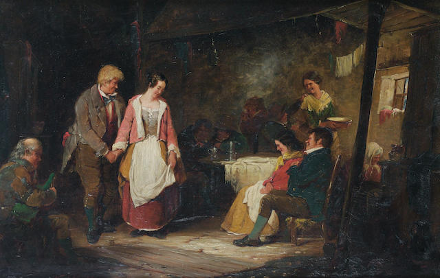 Erskine Nicol R.S.A., A.R.A. (British, 1825-1904) In a country tavern 28 x 42.4 cm. (11 x 16 3/4 in.)