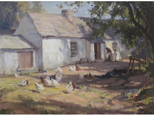 Frank McKelvey R.H.A., R.U.A. (Irish, 1895-1974) A Sunlit Farmyard 51 x 68.5 cm. (20 x 27 in.)