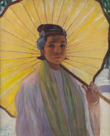 Gerald Kelly (British, 1879-1972) Burmese girl with parasol