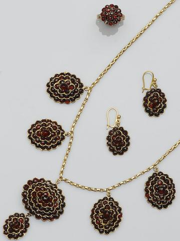 A garnet cluster necklace