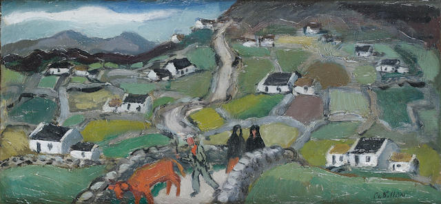 Gerard Dillon (Irish, 1916-1971) Milking day, Donegal 33 x 15 cm. (6 x 13 in.)