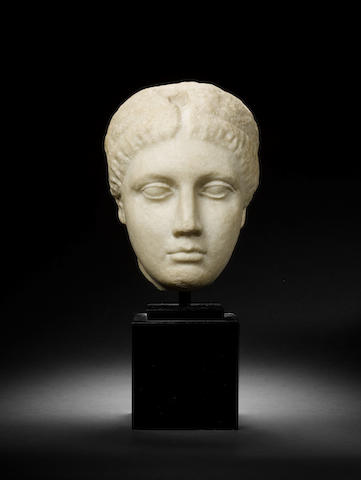 A Roman marble female portrait head